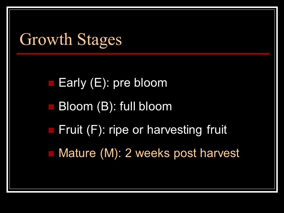 Growth Stages Early (E): pre bloom Bloom (B): full bloom Fruit (F): ripe or harvesting fruit Mature (M): 2 weeks post harvest