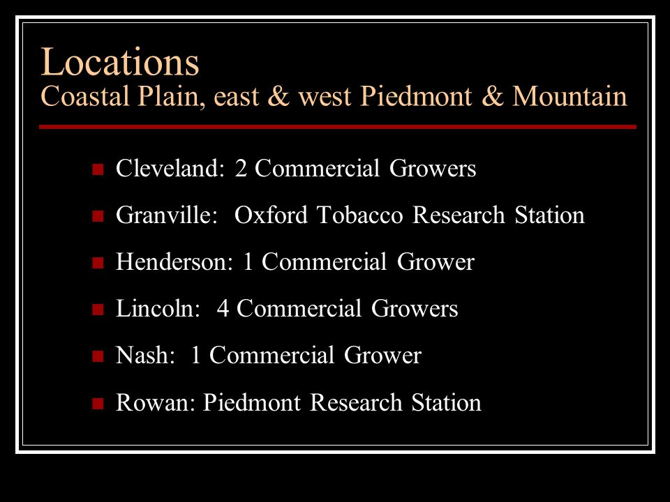 Locations Coastal Plain, east & west Piedmont & Mountain Cleveland: 2 Commercial Growers Granville: Oxford Tobacco Research Station Henderson: 1 Commercial Grower Lincoln: 4 Commercial Growers Nash: 1 Commercial Grower Rowan: Piedmont Research Station