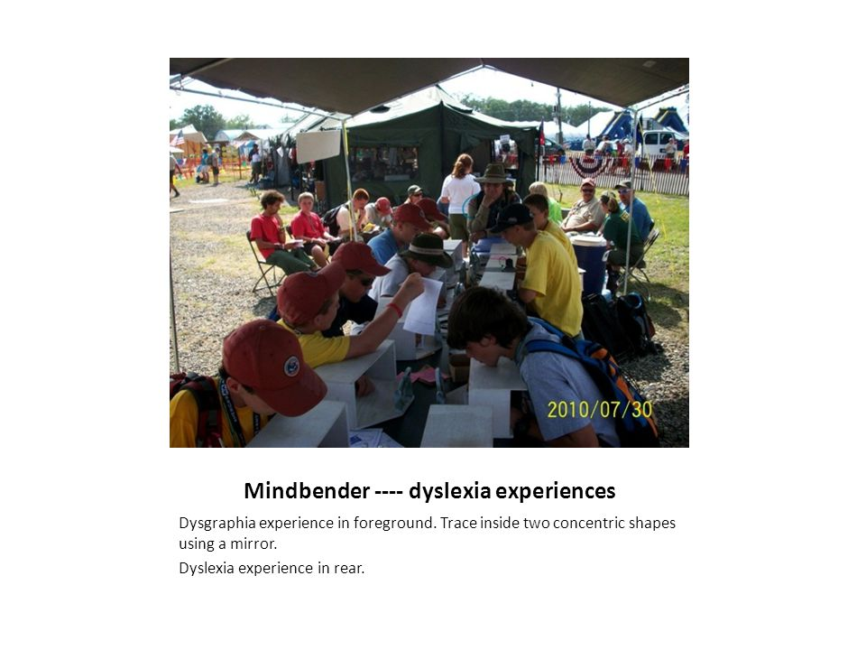 Mindbender ---- dyslexia experiences Dysgraphia experience in foreground. Trace inside two concentric shapes using a mirror. Dyslexia experience in re