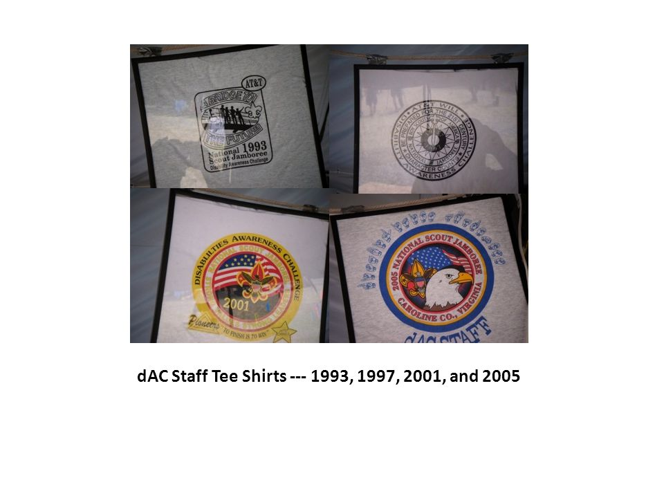 dAC Staff Tee Shirts --- 1993, 1997, 2001, and 2005
