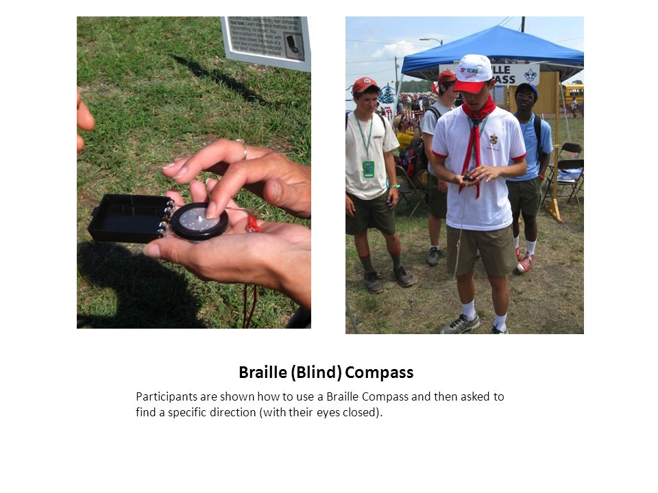Braille (Blind) Compass Participants are shown how to use a Braille Compass and then asked to find a specific direction (with their eyes closed).