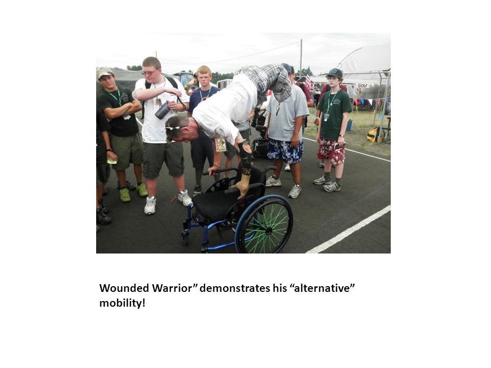 Wounded Warrior demonstrates his alternative mobility!