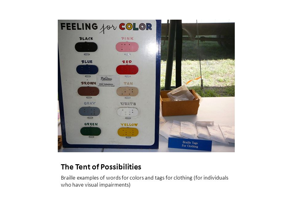 The Tent of Possibilities Braille examples of words for colors and tags for clothing (for individuals who have visual impairments)