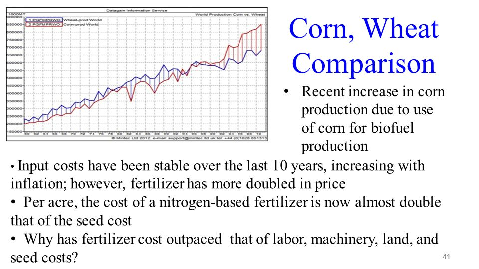 41 Corn, Wheat Comparison Recent increase in corn production due to use of corn for biofuel production Input costs have been stable over the last 10 years, increasing with inflation; however, fertilizer has more doubled in price Per acre, the cost of a nitrogen-based fertilizer is now almost double that of the seed cost Why has fertilizer cost outpaced that of labor, machinery, land, and seed costs?