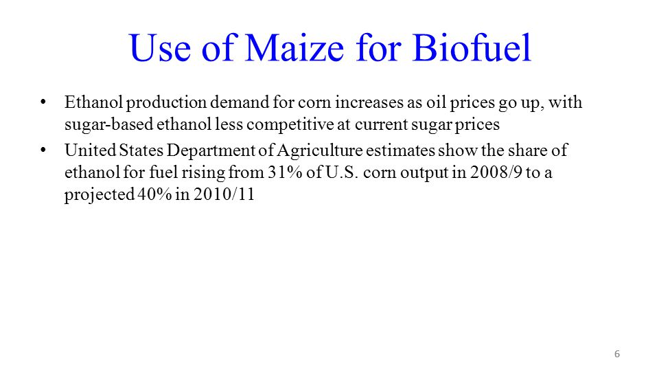 17 Sugar Cane Sugar cane has been used for ethanol production, starting in the 1970's in Brazil The ratio of output energy (renewable) to input energy (fossil) for sugar cane varies between are 8.3 and 10.2 Both former presidents George W.