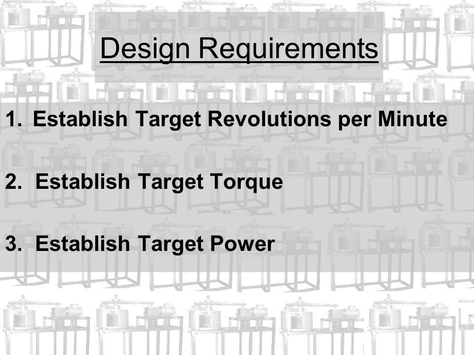 Design Requirements 1.Establish Target Revolutions per Minute 2.