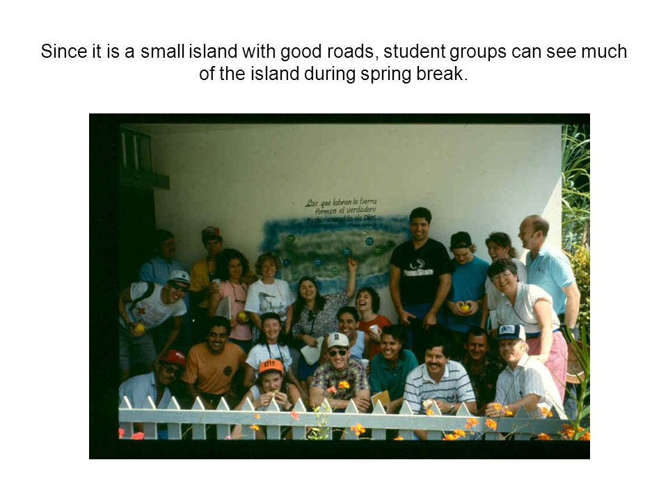 Since it is a small island with good roads, student groups can see much of the island during spring break.