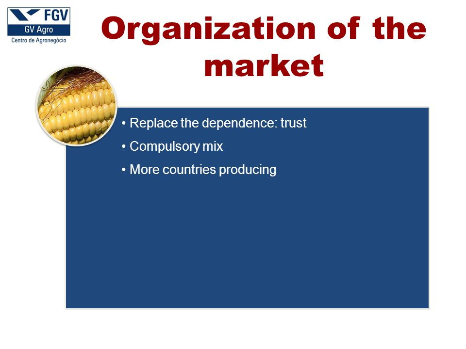 Replace the dependence: trust Compulsory mix More countries producing Organization of the market