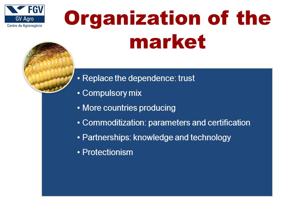 Replace the dependence: trust Compulsory mix More countries producing Commoditization: parameters and certification Partnerships: knowledge and technology Protectionism Organization of the market