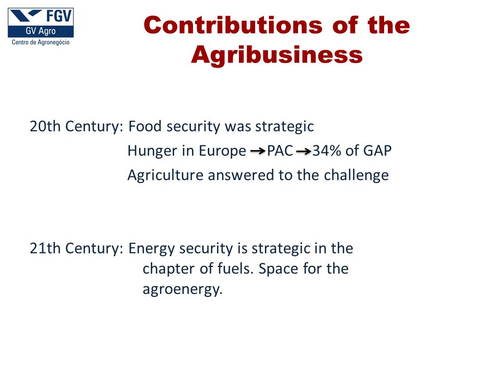 20th Century: Food security was strategic Hunger in Europe PAC 34% of GAP Agriculture answered to the challenge 21th Century: Energy security is strategic in the chapter of fuels.