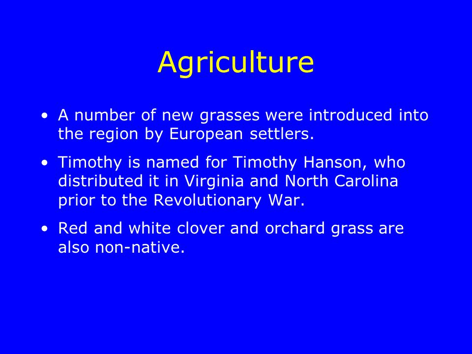 Agriculture A number of new grasses were introduced into the region by European settlers.