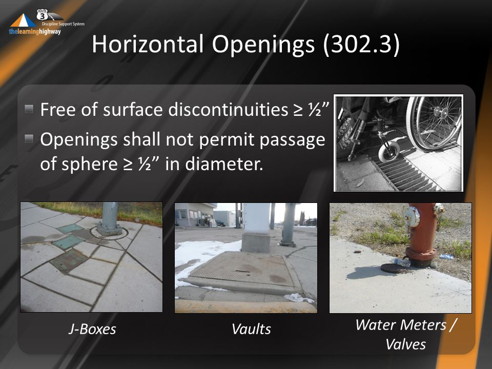 Horizontal Openings (302.3) Free of surface discontinuities ≥ ½ Openings shall not permit passage of sphere ≥ ½ in diameter.