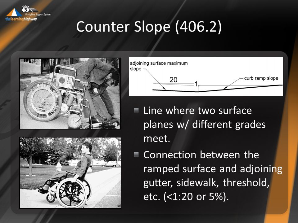 Counter Slope (406.2) Line where two surface planes w/ different grades meet.