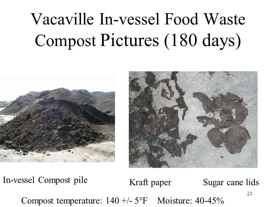 21 Vacaville In-vessel Food Waste Compost Pictures (180 days) In-vessel Compost pile Sugar cane lidsKraft paper Compost temperature: 140 +/- 5  F Moi