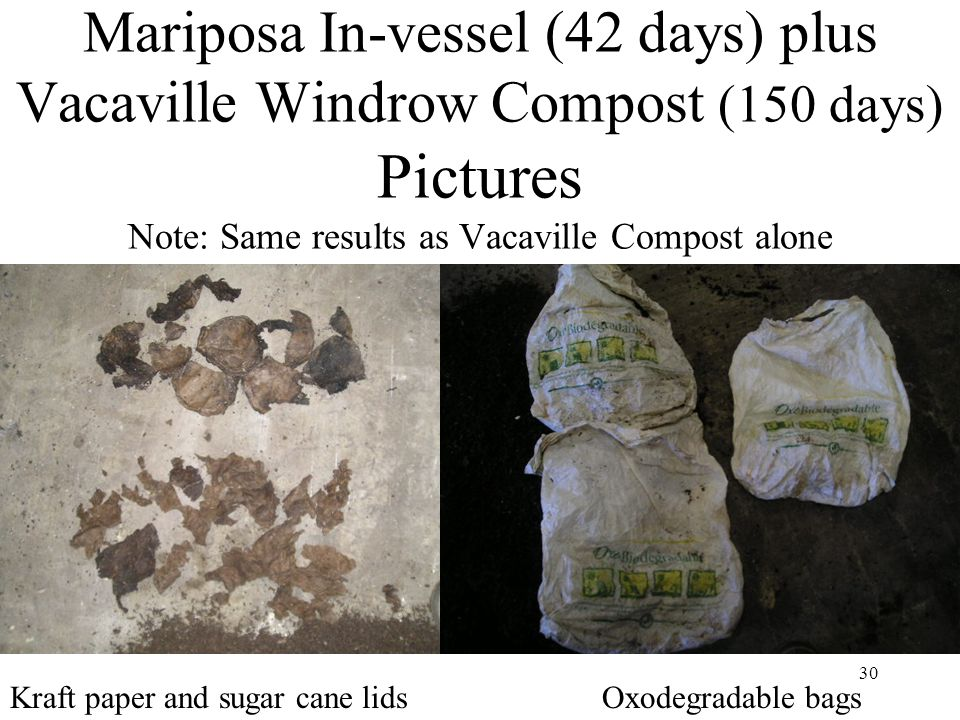 30 Mariposa In-vessel (42 days) plus Vacaville Windrow Compost (150 days) Pictures Note: Same results as Vacaville Compost alone Oxodegradable bagsKra