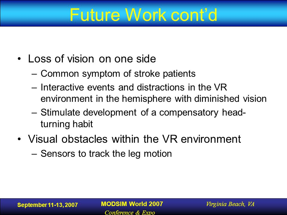 September 11-13, 2007 MODSIM World 2007 Virginia Beach, VA Conference & Expo Future Work cont'd Loss of vision on one side –Common symptom of stroke patients –Interactive events and distractions in the VR environment in the hemisphere with diminished vision –Stimulate development of a compensatory head- turning habit Visual obstacles within the VR environment –Sensors to track the leg motion