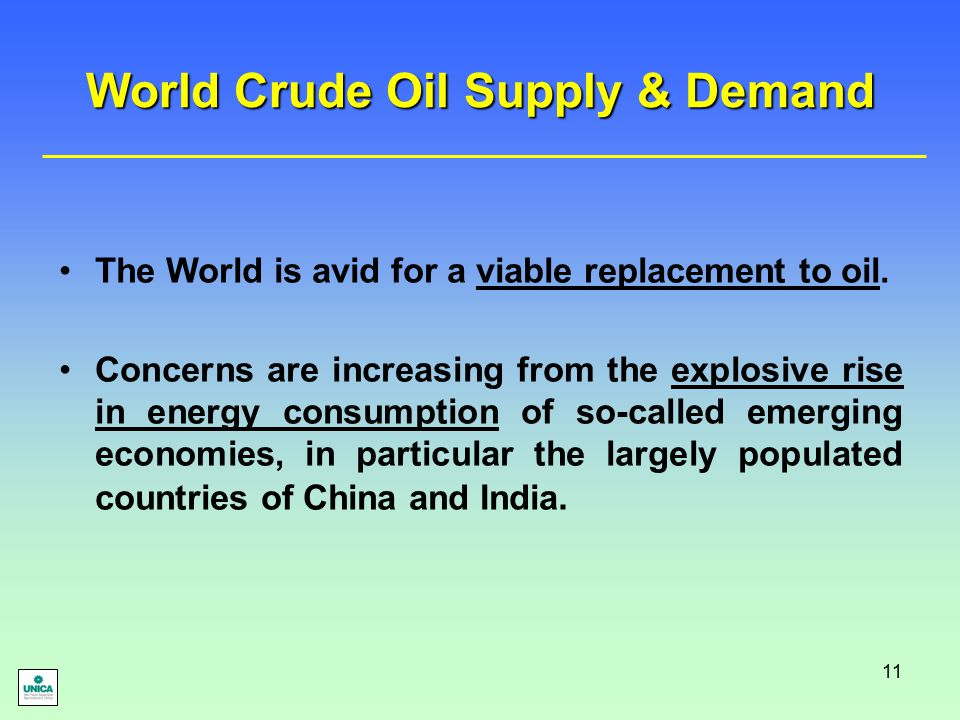 11 World Crude Oil Supply & Demand The World is avid for a viable replacement to oil. Concerns are increasing from the explosive rise in energy consum