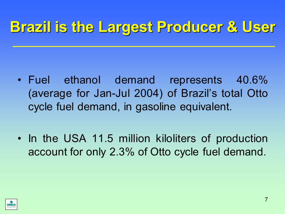 7 Brazil is the Largest Producer & User Fuel ethanol demand represents 40.6% (average for Jan-Jul 2004) of Brazil's total Otto cycle fuel demand, in g