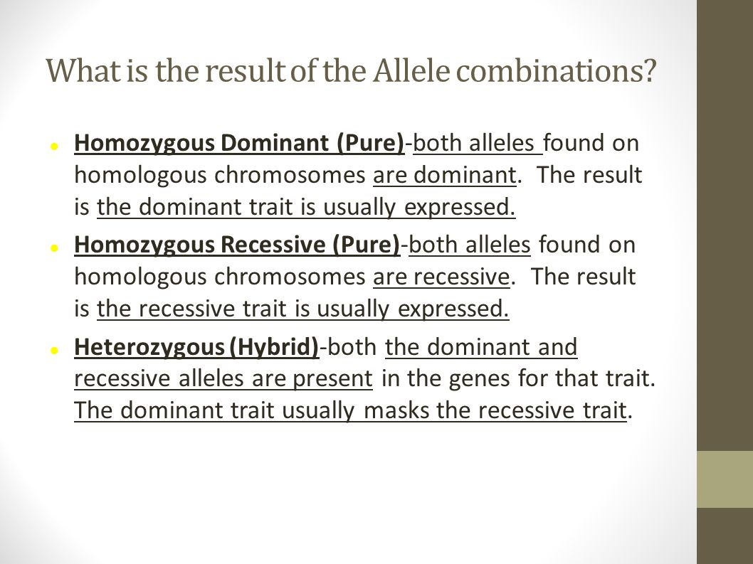 What is the result of the Allele combinations? Homozygous Dominant (Pure)-both alleles found on homologous chromosomes are dominant. The result is the