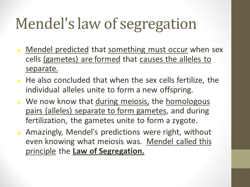 Mendel s law of segregation Mendel predicted that something must occur when sex cells (gametes) are formed that causes the alleles to separate.