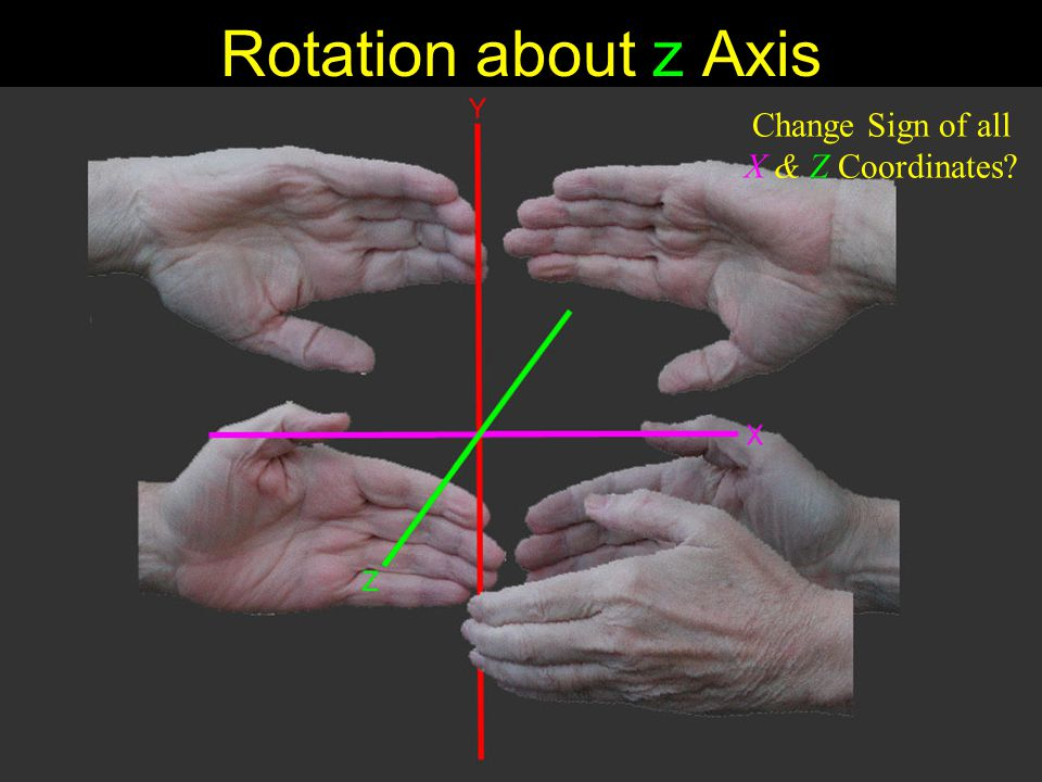 Rotation about z Axis Change Sign of all X & Z Coordinates?