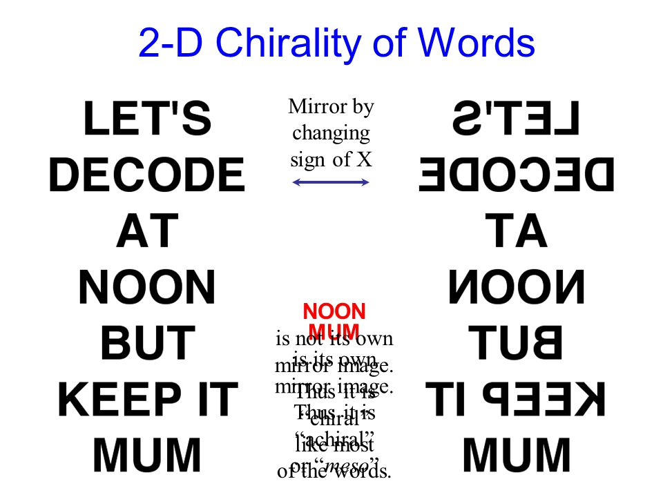 "2-D Chirality of Words MUM is its own mirror image. Thus it is ""achiral"" or ""meso"" Mirror by changing sign of X NOON is not its own mirror image. Thus"