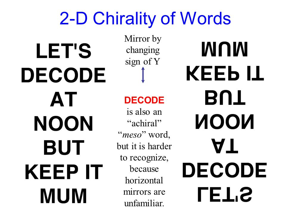 "2-D Chirality of Words DECODE is also an ""achiral"" ""meso"" word, but it is harder to recognize, because horizontal mirrors are unfamiliar. Mirror by ch"