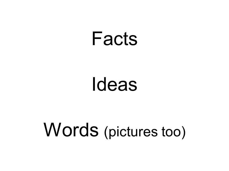 Facts Ideas Words (pictures too)