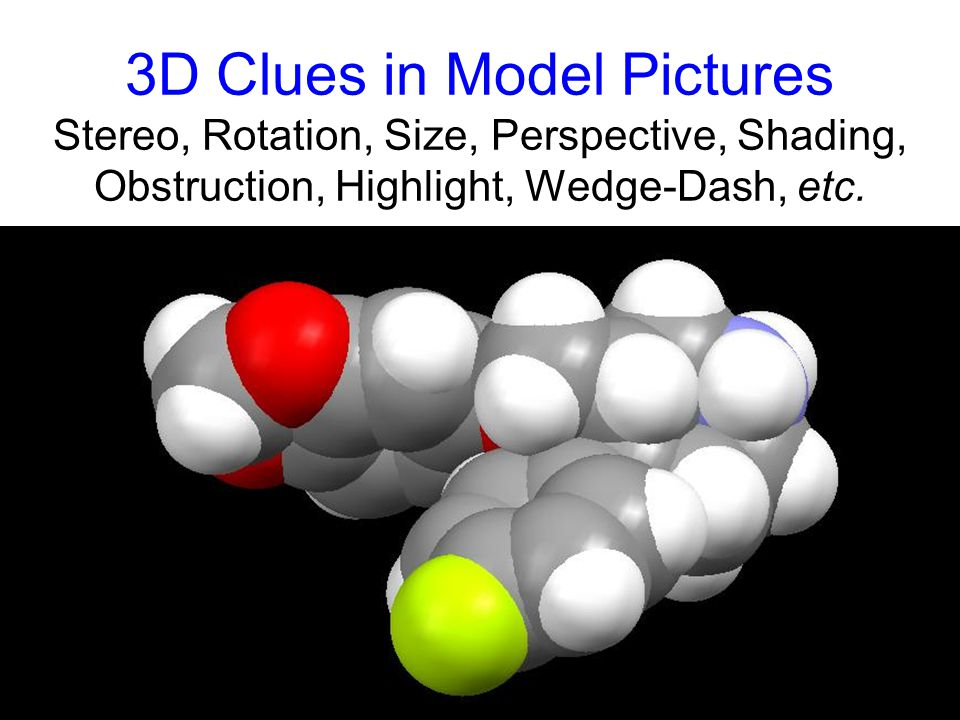 3D Clues in Model Pictures Stereo, Rotation, Size, Perspective, Shading, Obstruction, Highlight, Wedge-Dash, etc.