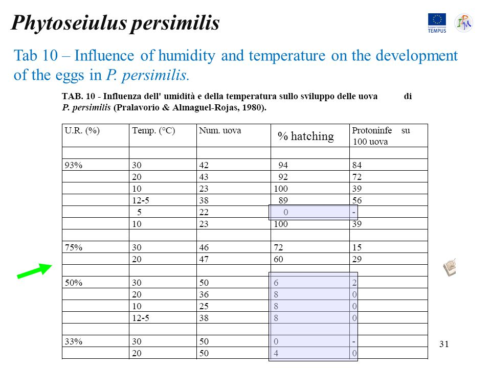 Tab 10 – Influence of humidity and temperature on the development of the eggs in P.