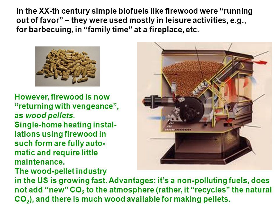 In the XX-th century simple biofuels like firewood were running out of favor – they were used mostly in leisure activities, e.g., for barbecuing, in family time at a fireplace, etc.