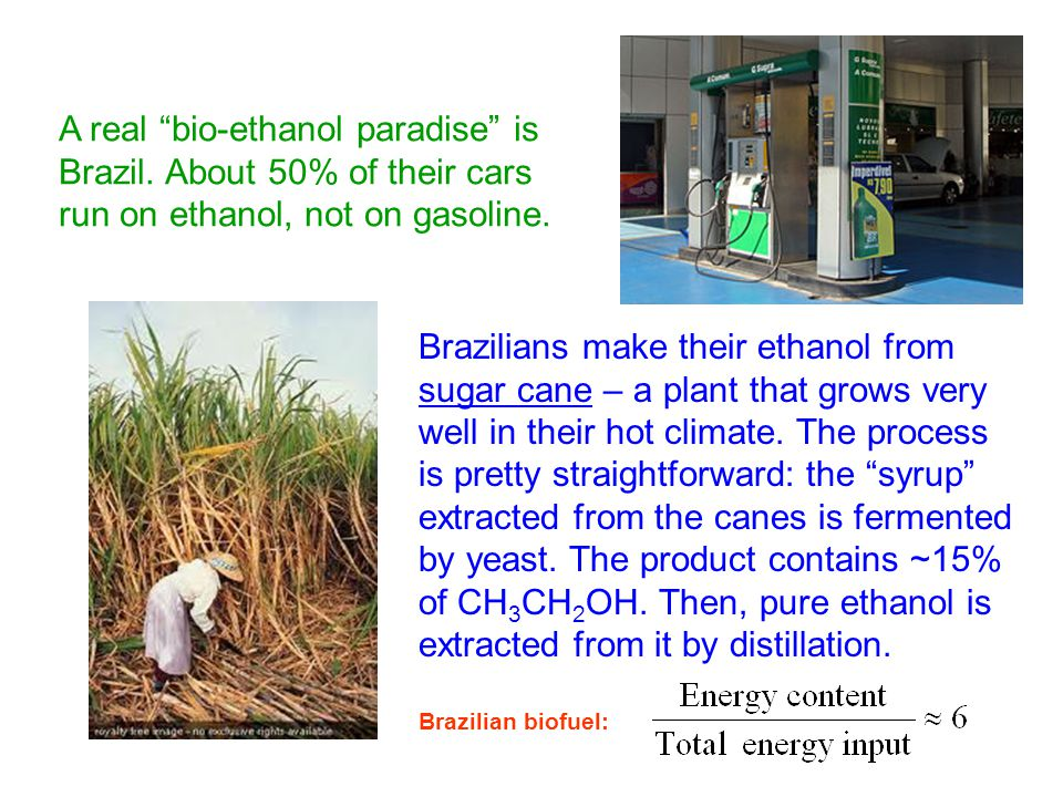 A real bio-ethanol paradise is Brazil. About 50% of their cars run on ethanol, not on gasoline.