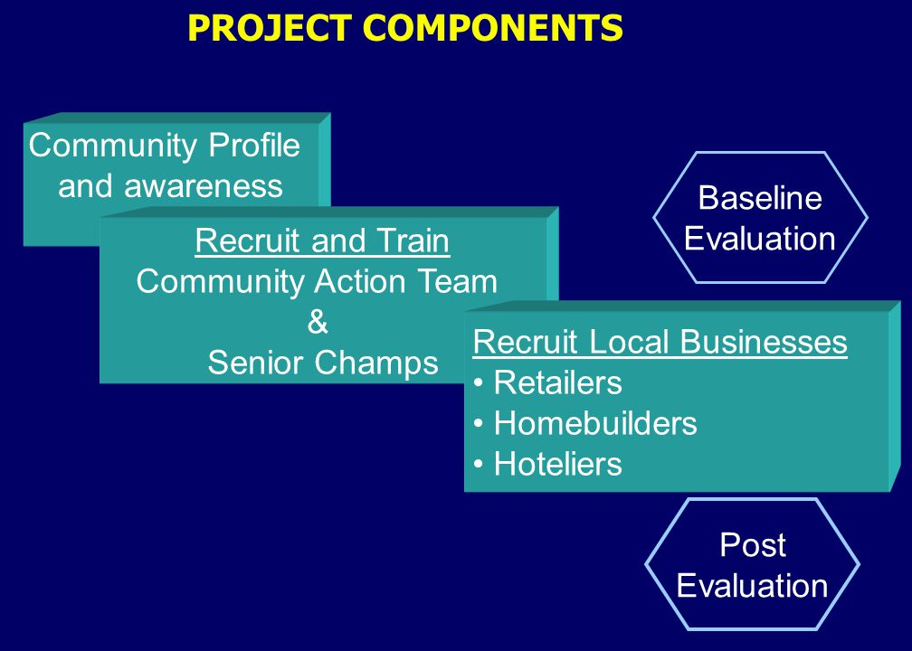 PROJECT COMPONENTS Community Profile and awareness Recruit and Train Community Action Team & Senior Champs Recruit Local Businesses Retailers Homebuilders Hoteliers Baseline Evaluation Post Evaluation