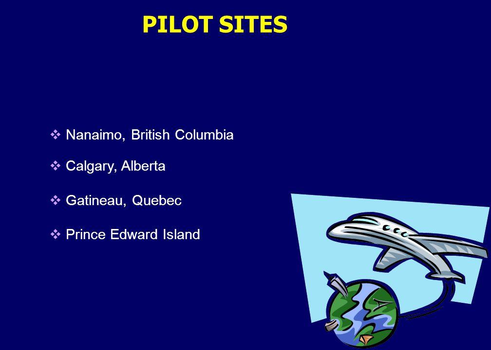  Nanaimo, British Columbia  Calgary, Alberta  Gatineau, Quebec  Prince Edward Island PILOT SITES