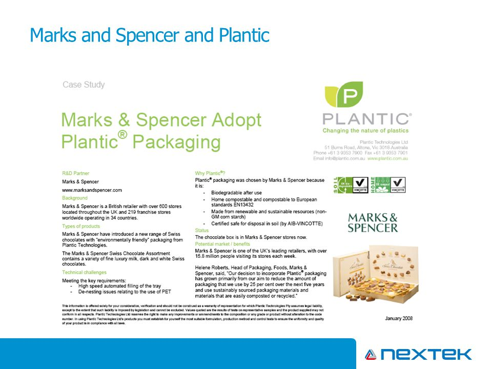 Marks and Spencer and Plantic