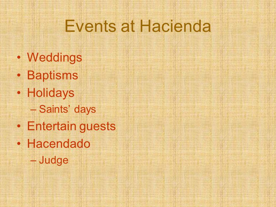 Events at Hacienda Weddings Baptisms Holidays –Saints' days Entertain guests Hacendado –Judge