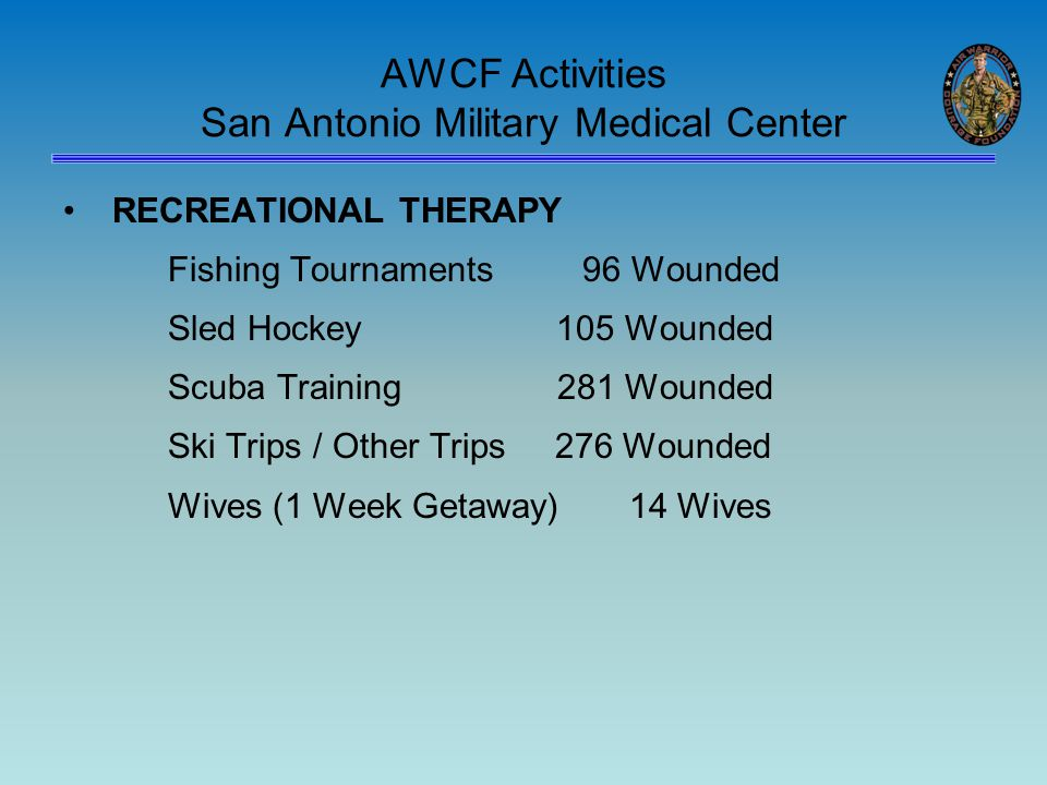 AWCF Activities San Antonio Military Medical Center RECREATIONAL THERAPY Fishing Tournaments 96 Wounded Sled Hockey 105 Wounded Scuba Training 281 Wounded Ski Trips / Other Trips 276 Wounded Wives (1 Week Getaway) 14 Wives