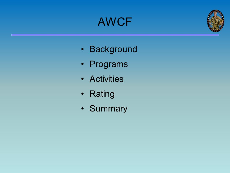 AWCF Background Programs Activities Rating Summary