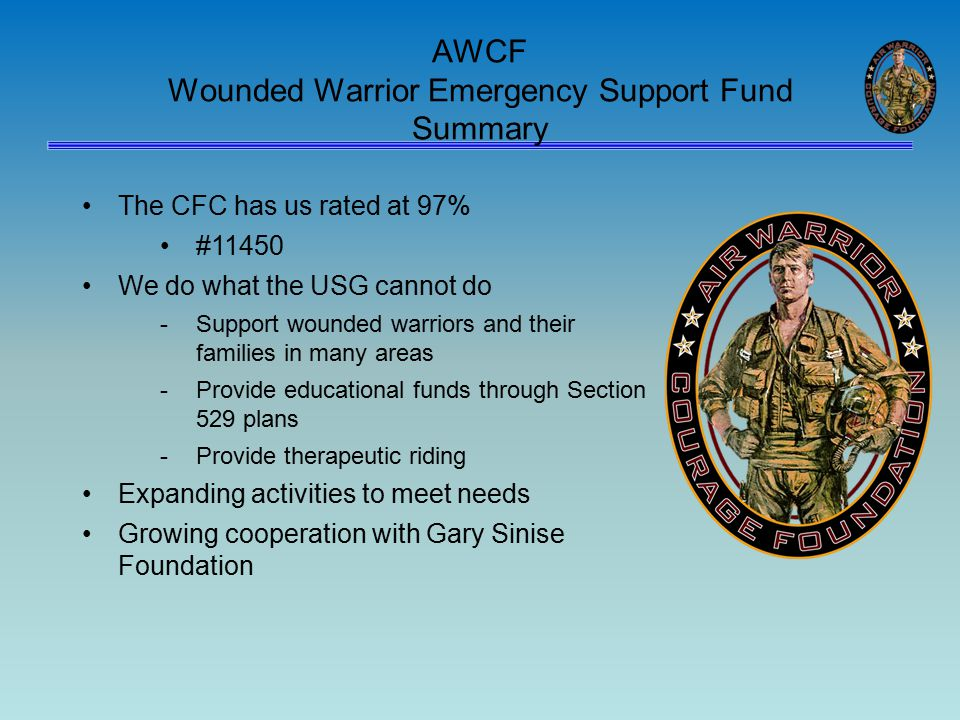 AWCF Wounded Warrior Emergency Support Fund Summary The CFC has us rated at 97% #11450 We do what the USG cannot do -Support wounded warriors and their families in many areas -Provide educational funds through Section 529 plans -Provide therapeutic riding Expanding activities to meet needs Growing cooperation with Gary Sinise Foundation