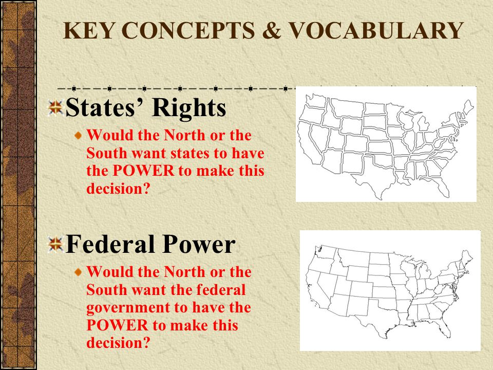 States' Rights Would the North or the South want states to have the POWER to make this decision? Federal Power Would the North or the South want the f
