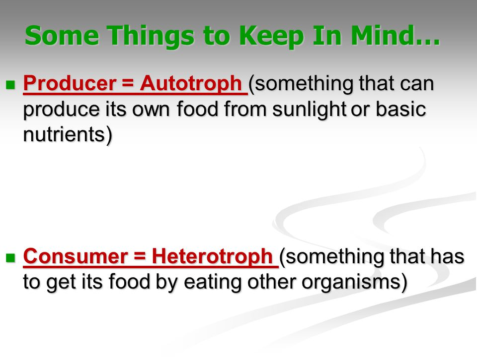 Producer = Autotroph (something that can produce its own food from sunlight or basic nutrients) Producer = Autotroph (something that can produce its o