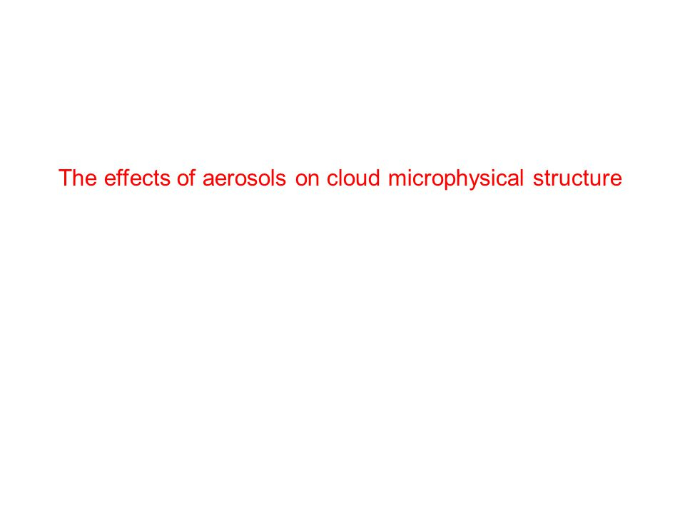 The effects of aerosols on cloud microphysical structure