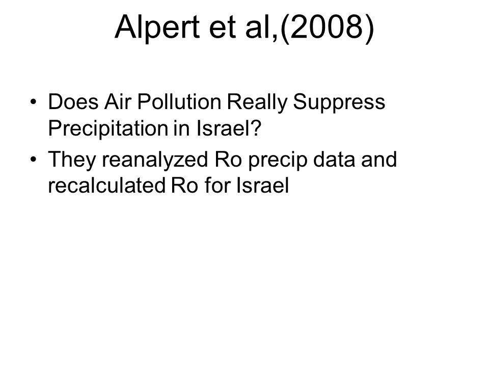 Alpert et al,(2008) Does Air Pollution Really Suppress Precipitation in Israel.