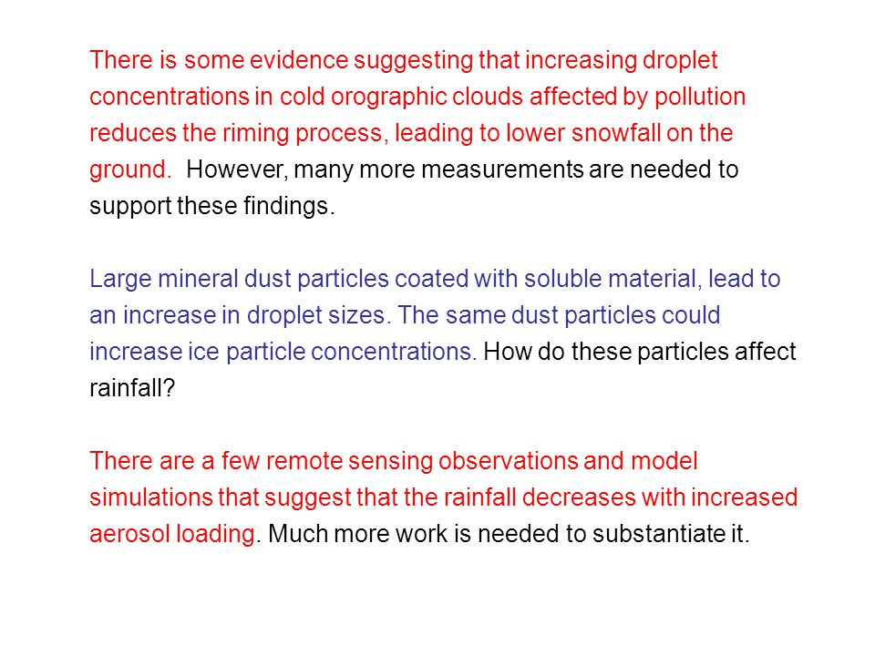 There is some evidence suggesting that increasing droplet concentrations in cold orographic clouds affected by pollution reduces the riming process, leading to lower snowfall on the ground.