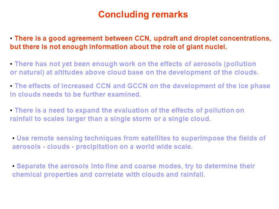 Concluding remarks There is a good agreement between CCN, updraft and droplet concentrations, but there is not enough information about the role of giant nuclei.
