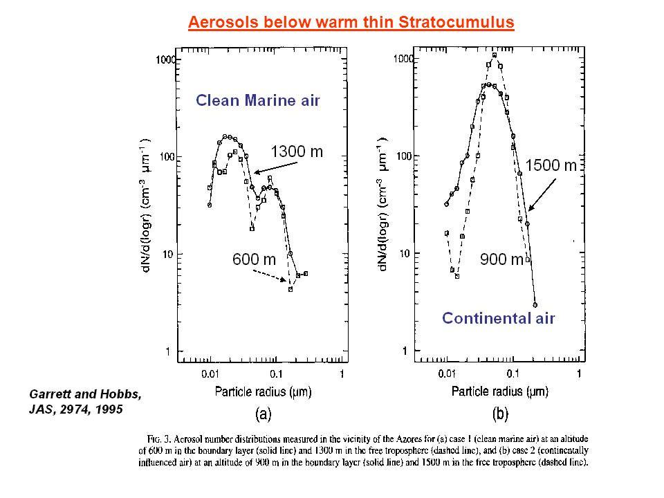 Aerosols below warm thin Stratocumulus