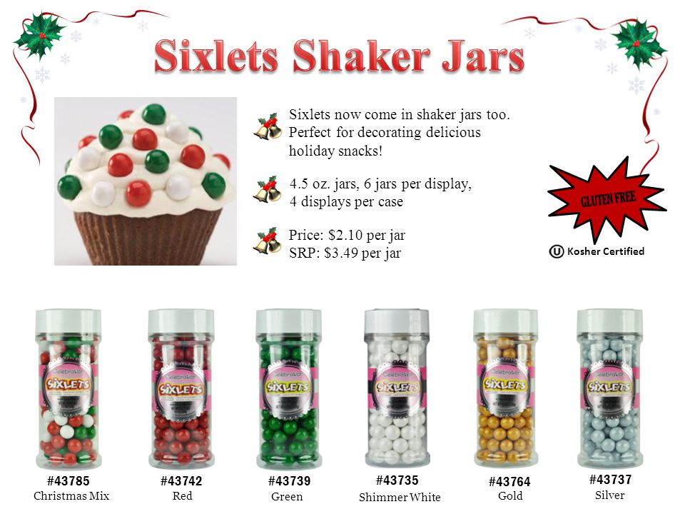 #43739 Green #43785 Christmas Mix #43742 Red #43764 Gold #43735 Shimmer White #43737 Silver 4.5 oz.