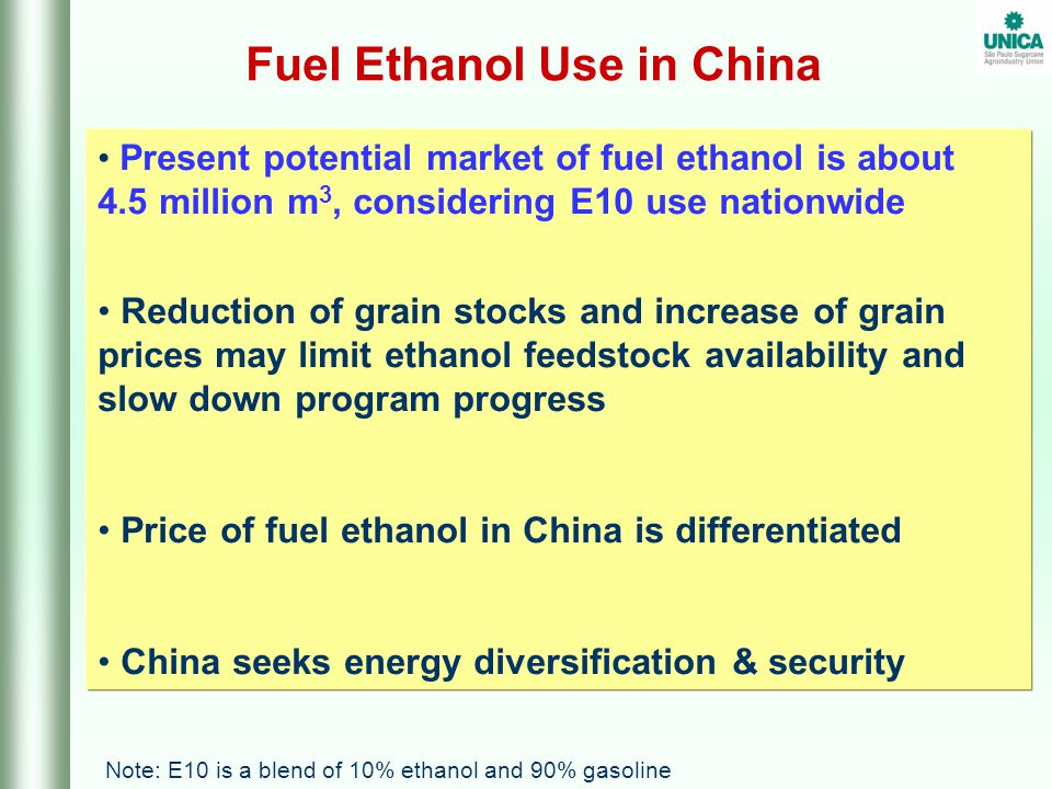 FINAL REMARKS  Brazil produces large volumes of fuel ethanol with high productivity  Exports of fuel ethanol from Brazil to China are feasible and price competitive  Brazil could become a preferential supplier of fuel ethanol to China  China and Brazil should strenghten the ethanol cooperation agreement