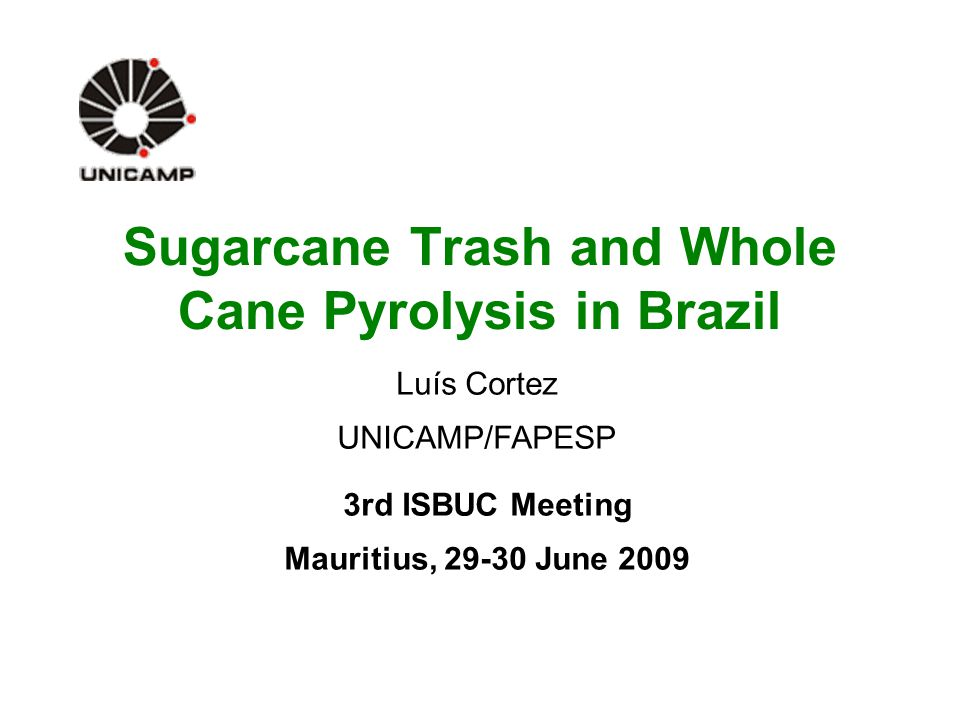 Sugarcane Trash and Whole Cane Pyrolysis in Brazil 3rd ISBUC Meeting Mauritius, 29-30 June 2009 Luís Cortez UNICAMP/FAPESP