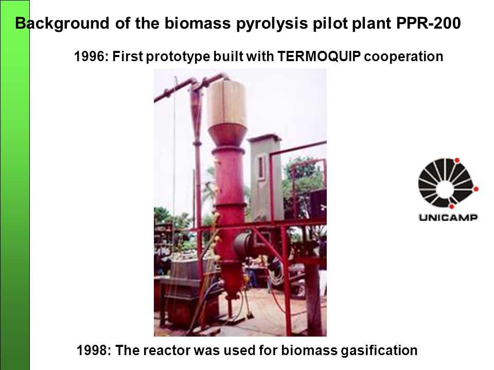 Background of the biomass pyrolysis pilot plant PPR-200 1998: The reactor was used for biomass gasification 1996: First prototype built with TERMOQUIP cooperation